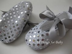 Baby girl shoes ballet flats Joy Silver by allthingsforbaby, $28.00