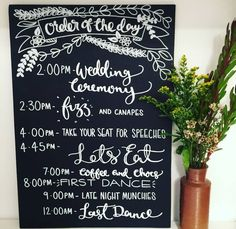 Are you interested in our timeline chalkboard? With our wedding day timeline you need look no further.