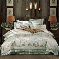 leaves pattern golden light green linens silk cotton jacquard duvet cover sets Queen/Full/Double/King Size bedding sets