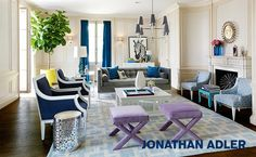 Known for his Mid-Century Modern Palm Springs inspired look, Jonathan Adler is a home furnishings and accessories designer famous for bringing happy chic to the world of interior design. Home Living Room, Living Room Designs, Living Room Decor, Living Spaces, Jonathan Adler, Luxury Furniture, Outdoor Furniture Sets, Space Furniture, Furniture Decor