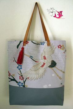 Tote bag  #shoulder_bag #bags #handmade_bag #leather_handles #chinese_cranes Handmade Bags, Leather Handle, Reusable Tote Bags, Chinese, Shoulder Bag, Fashion, Bag, Moda, Handmade Handbags