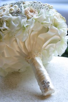 Champagne bouquet Elegant brooch wedding bouquet by annasinclair, $75.00