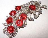 "Art Deco Brooch Pin Cherry Red Rhinestones Cast Silver Metal OLD Floral Design 3 1/2"" Vintage"