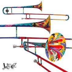 Music Decor, Art Music, Brass Musical Instruments, Saxophone Music, Jazz Art, Musician Gifts, Trumpets, Trombone, Custom Paint
