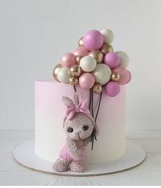 casein mug cake Baby Girl Birthday Cake, Cute Birthday Cakes, Beautiful Birthday Cakes, Baby Girl Cakes, Gateau Baby Shower, Baby Shower Cakes, Luxury Cake, Rabbit Cake, Balloon Cake