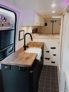 Welcome to Dynamo Ultima 's Sprinter Van Tour. We built a 2018 sprinter van with a shower/bathroom. This is our second camper van conversion we've ev. Sprinter Van Conversion, Camper Conversion, Van Conversion Sink, Van Conversion Interior, Modern Floor Tiles, Ceramic Floor Tiles, Tile Floor, Farm Style Sink, Motorhome