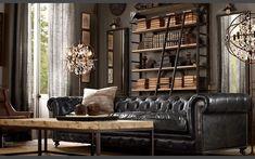 Kensington Chesterfield Ledersofa - 2,5-Sitzer Schwarz Sofa, Nero, Ebony - sir Chesterfield