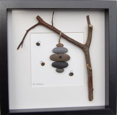 Bees and hive stone art Irish Pebble Art / Customised Framed Picture by OonaghKDesigns Stone Crafts, Rock Crafts, Arts And Crafts, Diy Crafts, Pebble Pictures, Stone Pictures, Art Pictures, Sea Glass Crafts, Sea Glass Art