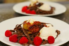 Chocolate Linguini with Vanilla Ice Cream, Raspberries, & Caramelized Bananas   (Found the chocolate linguine while I was at Pike Place market)