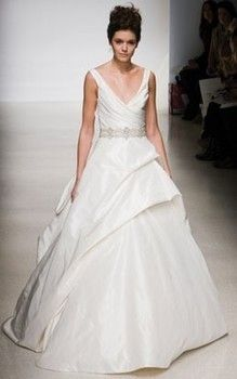 Bridal Gowns: Kenneth Pool Princess/Ball Gown Wedding Dress with V-Neck Neckline and Natural Waist Waistline
