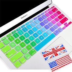 """Silicón colorido pegatinas teclado para Macbook cubierta del teclado ee.uu. y la ue versión 11 """" 13 """" 15 """" 17 """" Protector de la piel del ordenador portátil klavye membrana en Fundas de Teclado de Ordenadores, periféricos y software en AliExpress.com"""