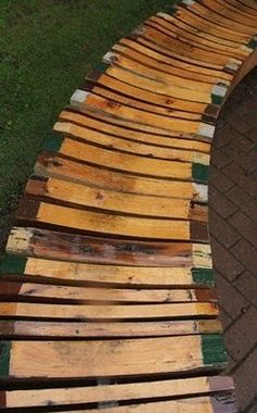outdoor bench made from upcycled timbers by Piet Hein Eek.