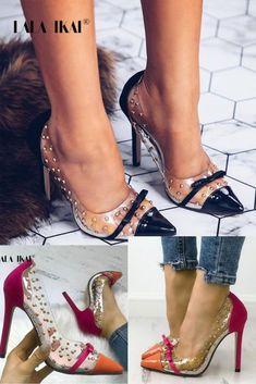 99dfbf6920d4 Women Bow High Heels Waterproof Slip On Stiletto Patchwork Pumps Female  Rivet Transparent Shoes