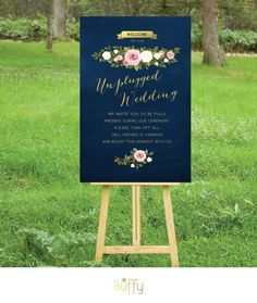 The ASHLEY . Unplugged Wedding Ceremony Sign . by BuffyWeddings