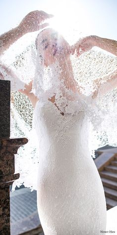 nurit hen 2016 bridal strapless sweetheart lace sheath wedding dress (15) illusion cape zv