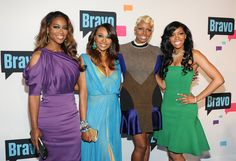 """The Real Housewives of Atlanta"" cast members, from left, Kenya Moore, Cynthia Bailey, NeNe Leakes and Porsha Stewart attend the Bravo Network 2013 Upfront on Wednesday April 3, 2013 in New York. (Photo by Evan Agostini/Invision/AP)"