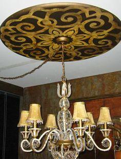 One-of-a-kind stenciled ceiling medallion | Modello® Designs Stencils | Artist: Leigh Lloyd