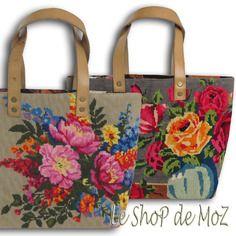 L'irène, cabas en canevas et sac tapisserie vintage fleuri