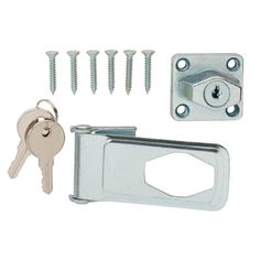 Get the safeguard you need with the Zinc-Plated Key Locking Safety Hasp from Everbilt for your doors, cabinets and gates. It features a key lock for increased security. Constructed of durable steel in a zinc-plated finish for a variety of interior applications. Best of all the screws are included for an easy installation. Color: Zinc Plated.