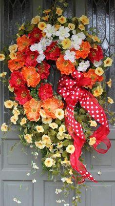Gorgeous Handmade Spring Wreath Summer Wreath Easter Wreath XXL!  Please Look!