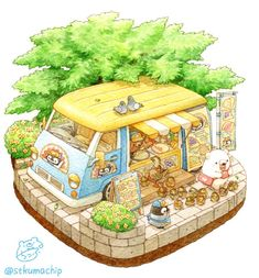 Just a small garden ghost Kawaii Illustration, Watercolor Illustration, Watercolor Art, Cute Kawaii Drawings, Kawaii Art, Kawaii Doodles, Isometric Art, Cute Chibi, Cute Bears