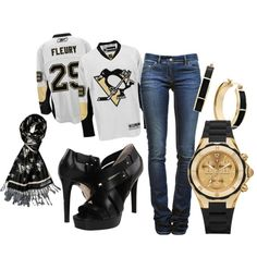 Pittsburgh Penguins outfit! Hockey & heels anyone? Definitely!!! <3 ~ I have the scarf & look a like black heels! And Letang Jersey! <3 #58 #LETSGOPENS <3