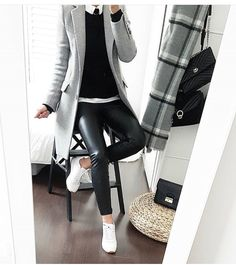 Black leather pants, white shirt, black pullover knit, gray overcoat over … – Outfit Inspiration & Ideas for All Occasions Mode Outfits, Office Outfits, Chic Outfits, Winter Outfits, Fashion Outfits, Casual Office Attire, Fashion Mode, Look Fashion, Autumn Fashion