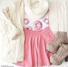 Donut too pink skirt and white cardigan with tan boots. Love this cute outfit