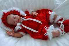 "Baby romper set/Christmas outfit/3-6 months/reborn baby/special occasion/bootees/bonnet/21-22"" reborn girl/Baby Christmas set/hand knitted by KosyKnits on Etsy"