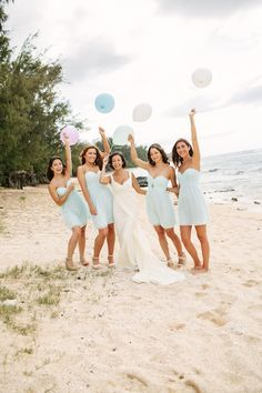 bridesmaids in seafoam / beach wedding / What A Day Photography