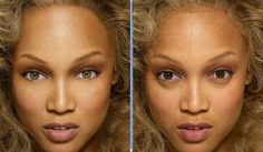 Tyra Banks with and without Photoshop. #retouch #airbrush #fake #real #beauty #image #face #pretty #makeup #flaw Photoshop Celebrities, Worst Celebrities, Hollywood Celebrities, Celebs, Photoshop Tutorial, Photoshop Fail, Before And After Photoshop, Photo Star, Celebrities Before And After