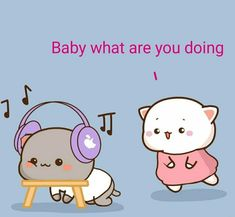 Cute Cartoon Pictures, Cute Love Pictures, Cute Love Gif, Cute Cat Gif, Couple Illustration, Art Drawings Sketches, Mochi, Hello Kitty, Cartoons