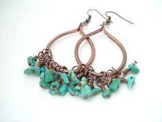Boho Hoops-Handmade Copper Hoops Earrings-Wirewrapped Turquoise Beads-Metalwork Unique Earrings- Boho Copper Earrings by AnnaRecycle on Etsy https://www.etsy.com/listing/233354285/boho-hoops-handmade-copper-hoops