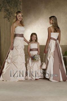 A-line Strapless Satin Bridesmaids Dress - IZIDRESS.COM