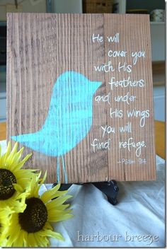 RUSTIC BLUE BIRD SIGN TUTORIAL Create an inspirational art piece with this rustic blue bird sign tutorial. With a little wood and paint, special Bible verses become art. Craft Projects, Projects To Try, Craft Ideas, Decorating Ideas, Cottage Decorating, Wood Projects, Just Dream, Crafty Craft, Crafting