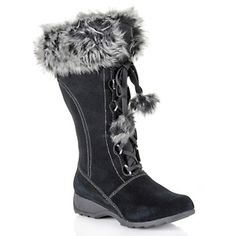 Sporto® Waterproof Suede Tall Boot with Pom Poms at HSN.com.