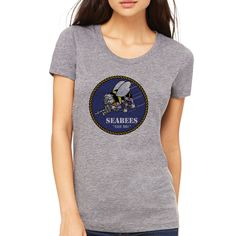Officially Licensed U.S. Navy Seabees Ladies Grey T-Shirt now available! Show your Navy Service pride with this comfortable Short Sleeve T-Shirt. This shirt, made from performance fabric, features 100% Polyester antimicrobial, moisture wicking technology to keep you cool, dry, and comfortable. Designed, Printed & Sublimated in the USA -Fabric Imported.
