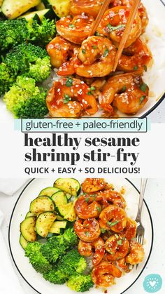 Easy Sesame Shrimp - Quick and easy healthy shrimp stir fry with a sweet, tangy sesame sauce. We LOVE this easy dinner! (Gluten-Free, Paleo-Friendly)// Healthy Sesame Shrimp Stir Fry // Paleo Shrimp Stir Fry // Gluten-Free Shrimp Stir Fry // Honey Sesame Shrimp // Sesame Garlic Shrimp #shrimp #stirfry #glutenfree #paleo Fish Recipes For Lunch, Easy Paleo Dinner Recipes, Easy Fish Recipes, Gluten Free Dinner, Paleo Recipes, Sin Gluten, Sesame Shrimp, Sesame Sauce, Garlic Shrimp