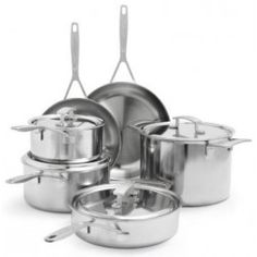 Please note: Product ships in Sur La Table packaging. This cookware set from Demeyere includes a skillet, skillet, sauté pan wit. Small Kitchen Appliances, Kitchen Tools, Kitchen Stuff, Cookware Set, Brushed Stainless Steel, Cooking Classes, Dinnerware, Table, Mansion