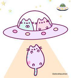 Gato Pusheen, Pusheen Love, Cute Cartoon Drawings, Kawaii Drawings, Kawaii Cute Wallpapers, Funny Grumpy Cat Memes, F2 Savannah Cat, Animal Crafts For Kids, Space Cat
