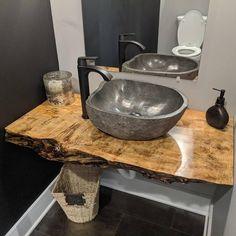 Rustic Bathroom Designs, Rustic Bathrooms, Bathroom Ideas, Industrial Bathroom, Bathroom Layout, Live Edge Counter, Live Edge Table, Stone Bathroom, Bathroom Vanity Tops