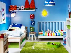 Charming and Playful Kid Spaces: 20 Shared Bedroom Ideas : Blue Wall And Blue Pendant Lamp Toddler Modern Shared Kids Room Boy Toddler Bedroom, Toddler Rooms, Girls Bedroom, Kids Rooms, Childrens Bedroom, Ikea Bedroom, Blue Bedroom, Bedroom Furniture, 3 Year Old Bedroom Boy