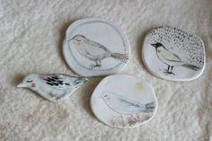 """Porcelain brooch / Small wall piece 11 : """"Bird under the moonlight"""" handmade original. $30.00, via Etsy."""