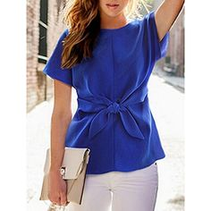 Choies Blue Short Sleeve Tie Front Blouse (785 RUB) ❤ liked on Polyvore