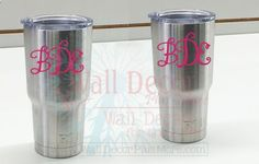 Yeti Tumbler Vinyl Monogram Stickers - Decorate your favorite Mug, Water Bottle or Tumbler with Personalized Custom Letter Decal Stickers!