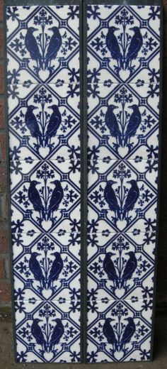 Gothic Pugin Fireplace Tiles Set Ravens