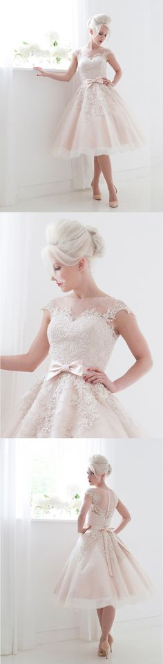 Mooshki Bridal Poppy tea length wedding dresses.  https://www.facebook.com/weddingchicks/posts/10152434958062672