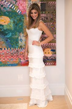 Vestido Tricô Babados Longo Branco