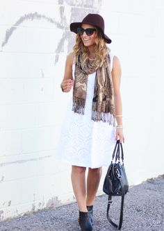 6 Ways to Wear White After Labor Day - Wearing a white dress in the fall - add a…