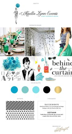 black and white with smaragd green and a hint of gold Kaella Lynn Events website inspiration board © Spitfiregirl Design Blog Design, Web Design Inspiration, Marca Personal, Graphic Design Print, Brand Board, Creating A Brand, Brand Packaging, Logo Nasa, Branding Design